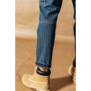 Image 2 - SIMWOOD Cargo jeans men vintage Paneled fashion hip hop vertical stripes streetwear washed 100% cotton ankle length pants 190405