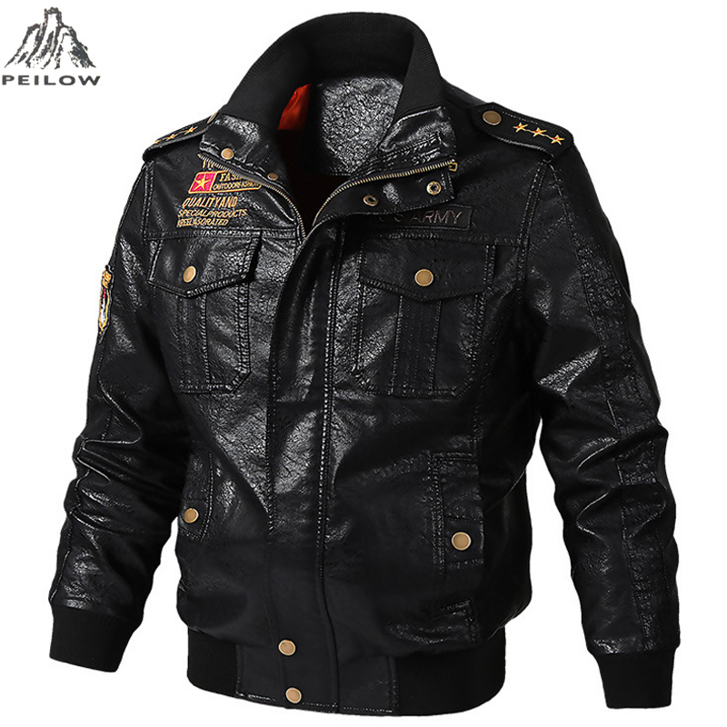 Autumn Winter Motorcycle Leather Jacket Men 5XL 6XL Men's PU Leather Bomber Jackets Jaqueta De Couro Masculina Mens Leather Coat