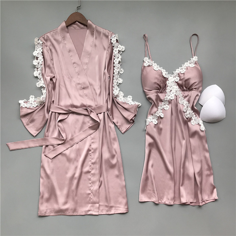 2020 Spring Women Robe & Gown Sets Sexy Sleep Lounge Pijama Sleeveless Ladies Nightwear Bathrobe+Nightdress With Chest Pads