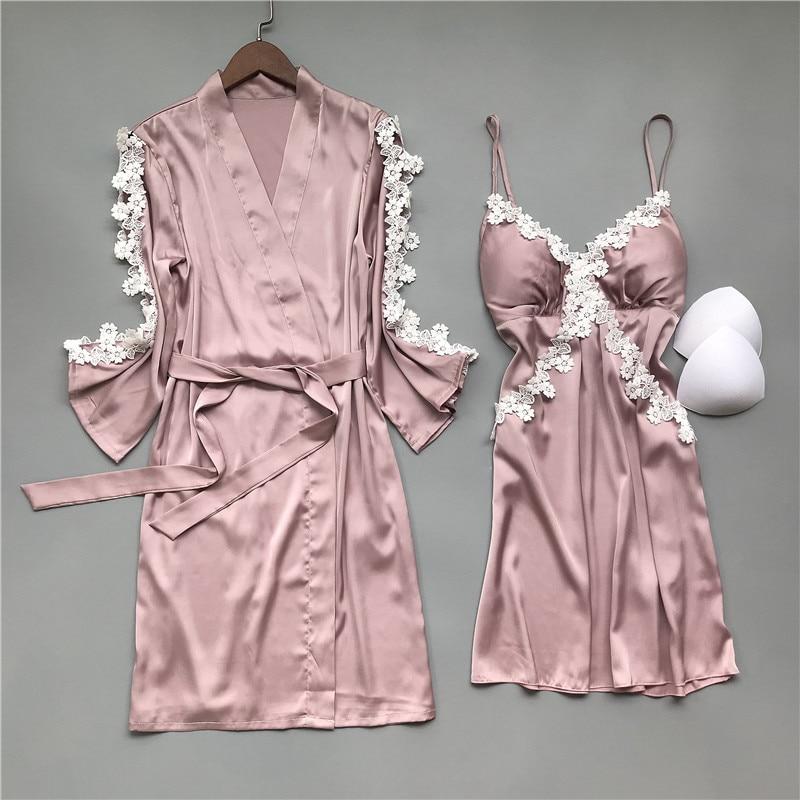2020 Spring Women Robe & Gown Sets Sexy Sleep Lounge Pijama Sleeveless Ladies Nightwear Bathrobe+Nightdress With Chest Pads