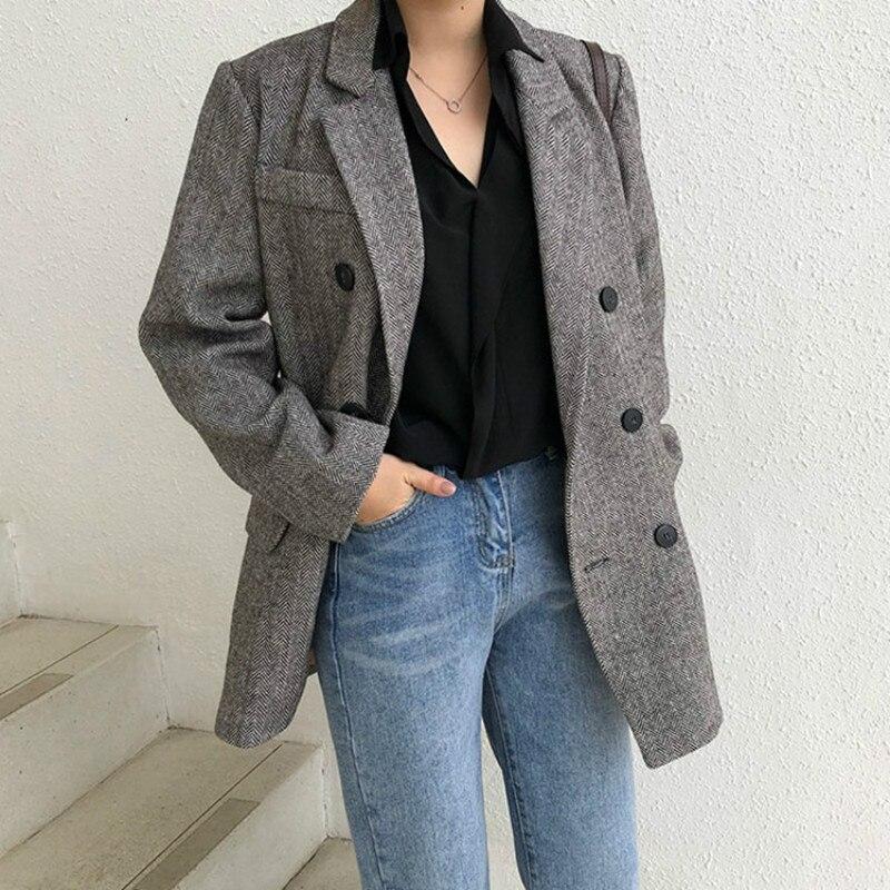 Autumn Winter Wool Coat Women Casual Long Grey  Double Breasted Herringbone Tweed Blazer Jacket Femme Belt 2019