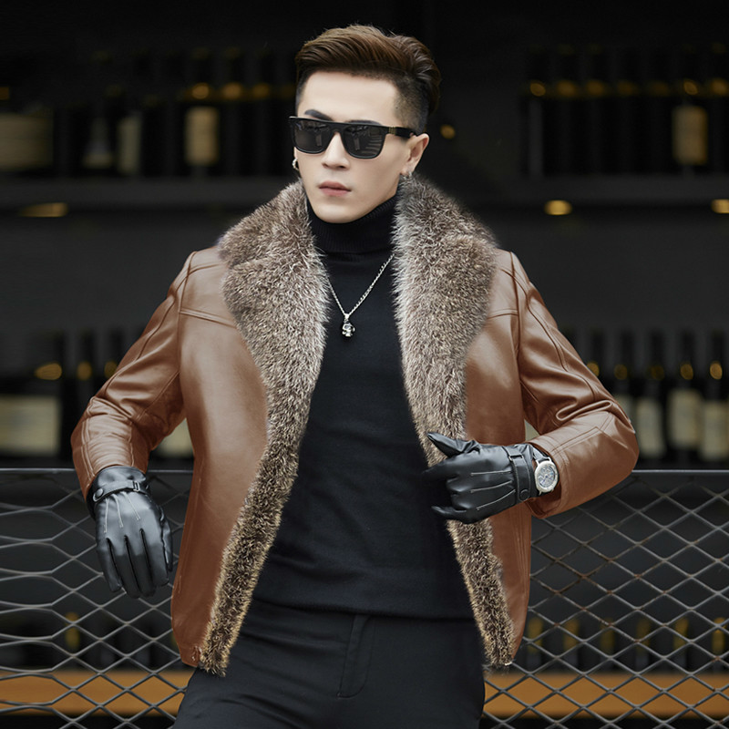 Men Autumn Winter Racoon Fur Collar Second Layer Of Sheepskin Coat For Men Wool Fur Liner Jacket HD5188 KJ1121
