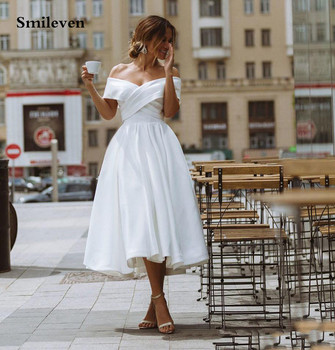 Smileven A Line Short Princess Wedding Dresses Satin Off The Shoulder Ankle Length Corset Bride Dress Robe De Mariage  Lace Up off the shoulder lace up dress