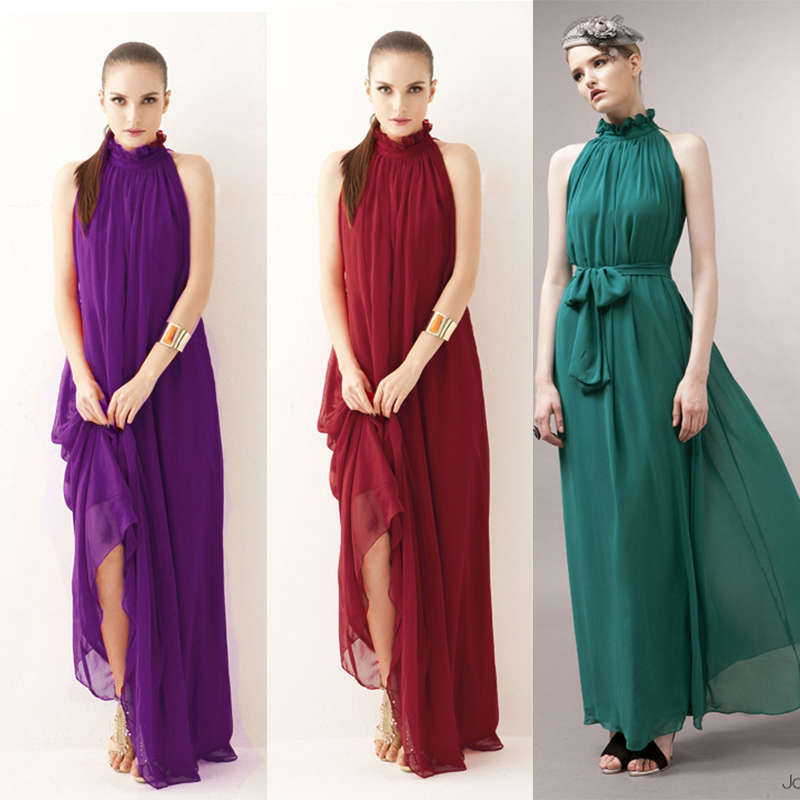 Long Chiffon Elegant   Bridesmaid     Dress   Red Guest Neck Collar Sleeveless Wedding Party Women Sexy Prom   Dress   Sister Club Vestidos