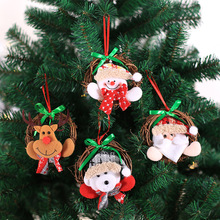 Xmas Pack of 4pcs Mini Santa Doll with Rattan Circle Christmas Hanging Ornaments Holiday New Year Party Home Decoration Baubles