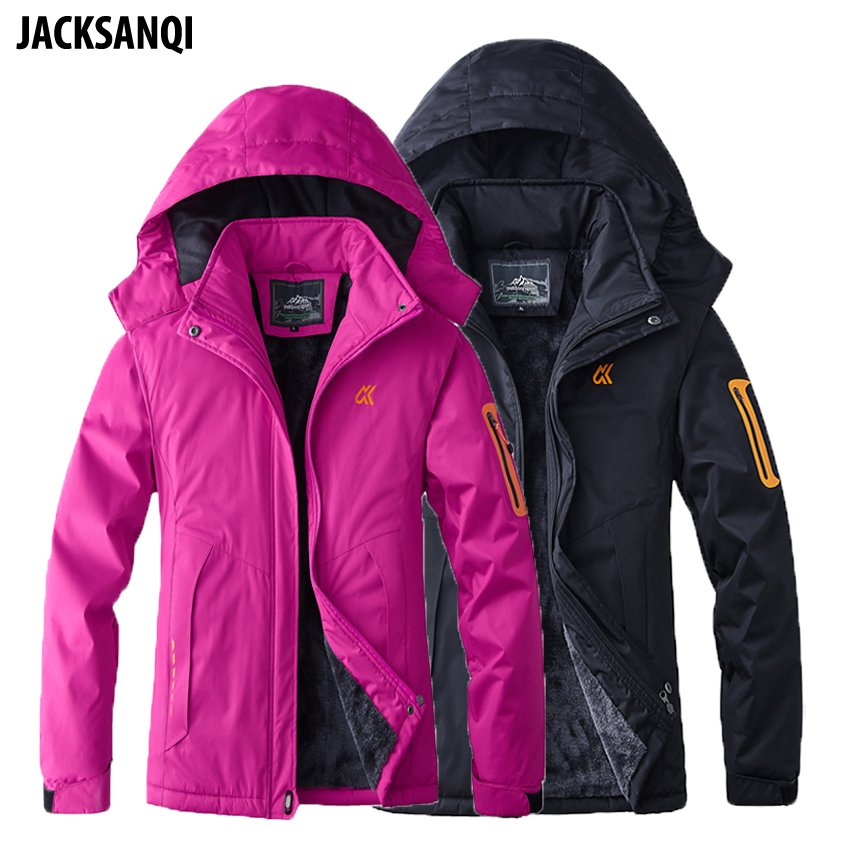 JACKSANQI Men's Women's Thick Fleece Waterproof Jackets Winter Outdoor Sports Warm Coats Thermal Ski Camping Hiking Parkas RA306