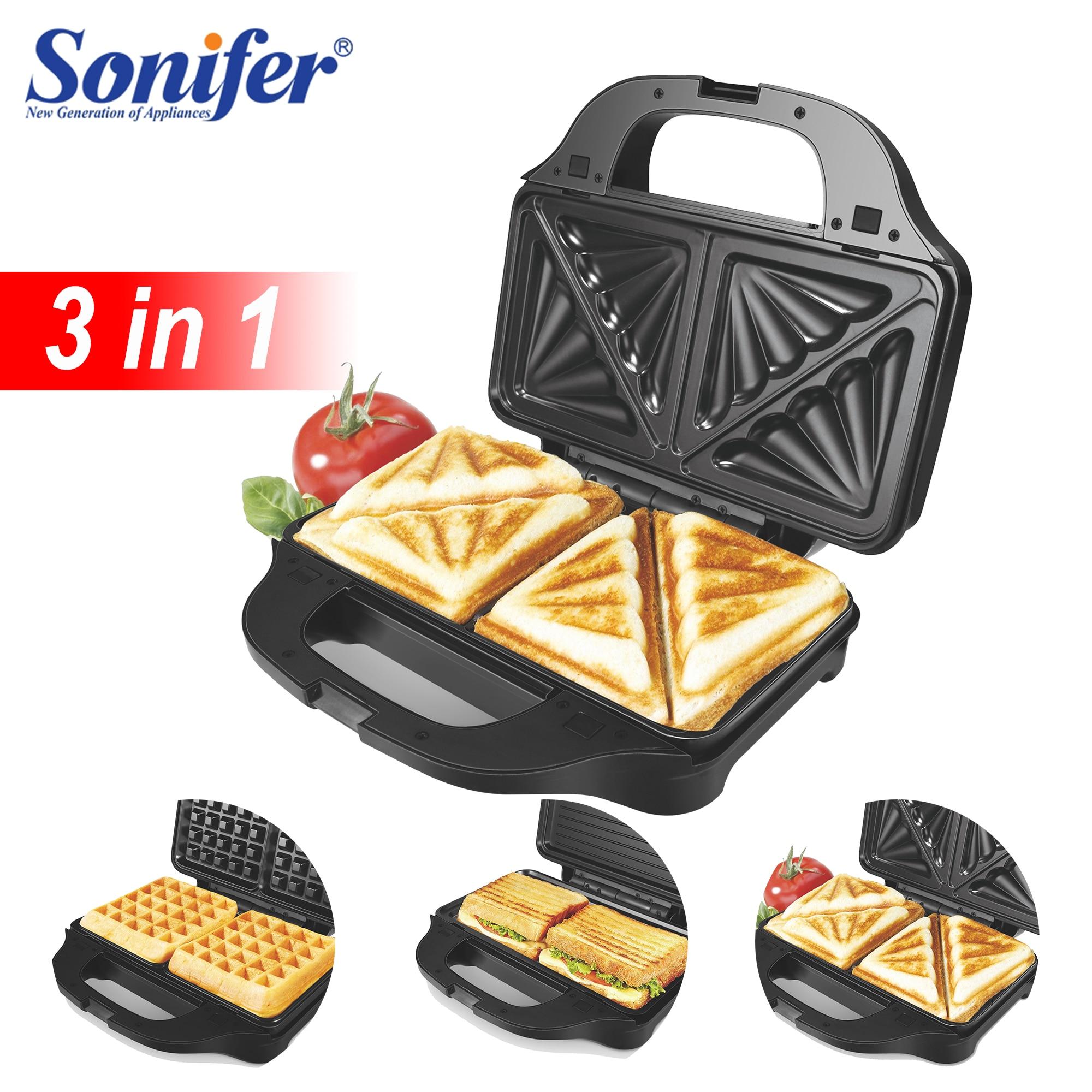 3 In 1 Electric Waffle Maker Iron Sandwich Machine Non-Stick Pan Bubble Egg Cake Oven Household Breakfast Waffle Machine Sonifer