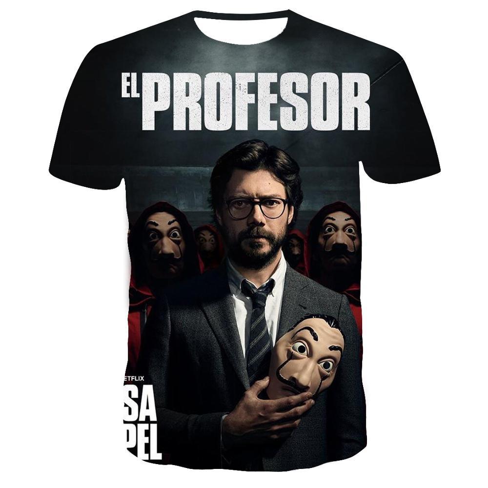 La Casa De Papel T Shirt 3D Print Women Men Short Sleeve Sweatshirts Money Heist The Paper House Casual Streetwear Tops