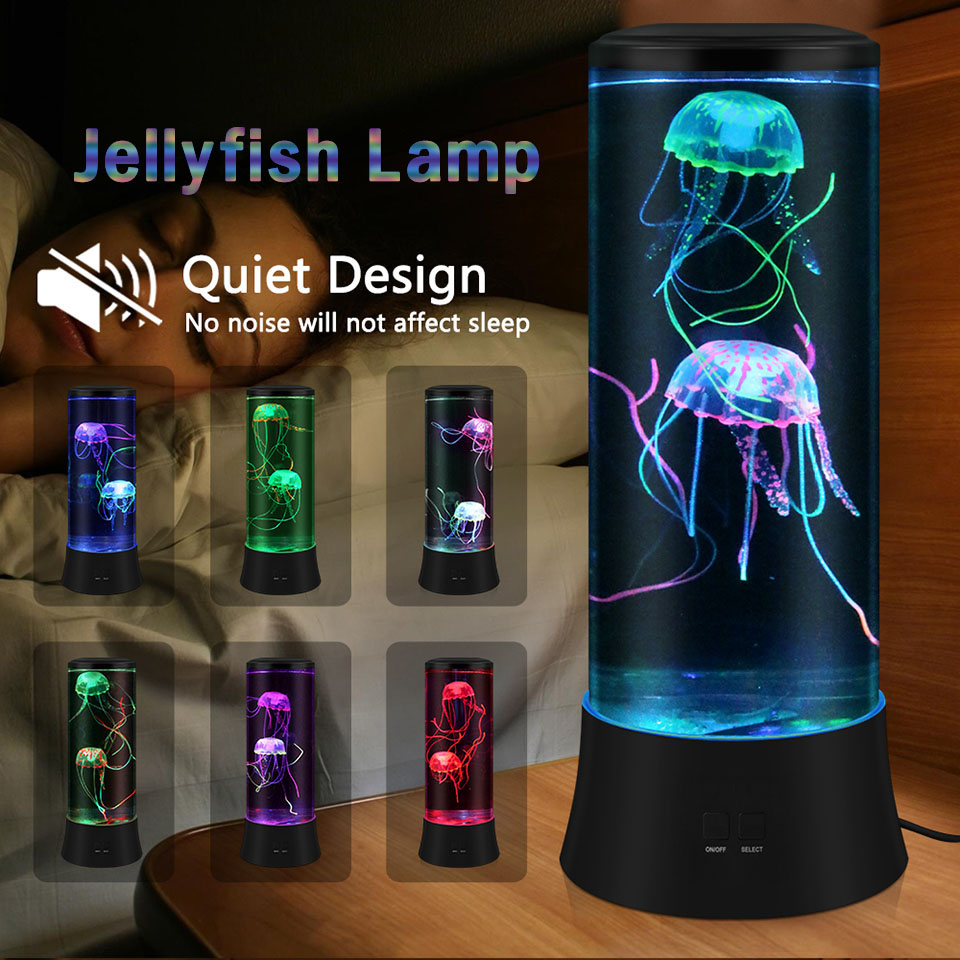 Jellyfish Lamp LED Night Light Lava Jellyfish Tank Aquarium Decor Mood Lamp Gifts For Baby Kids Help Children Sleeping No Noise