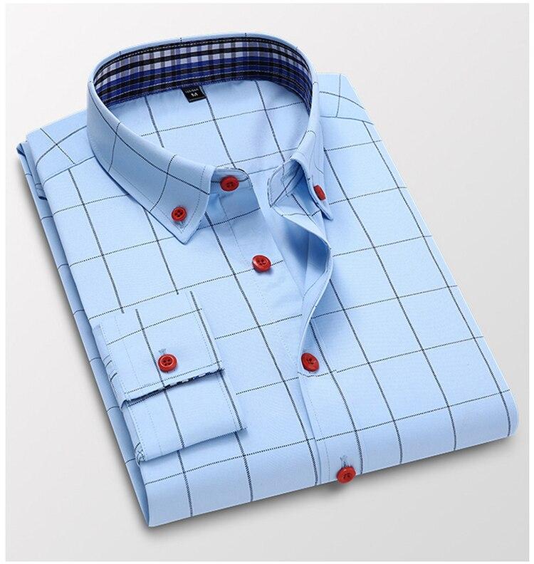 Ha64348236e7b4fad826fbb17bd7b79a8G Handsome Fashion Men Shirts Casual Long Sleeved Plaid Shirt Regular Fit Male Blouse 4XL 5XL
