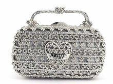 シルバークリスタルラインストーン女性の花イブニング財布金属ミノディエールハンドバッグウェディングパーティーボックスクラッチバッグ