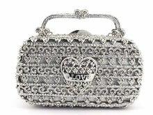 Bolso de noche plateado con cristales y diamantes de imitación para mujer, Minaudiere de Metal, para boda, fiesta, graduación