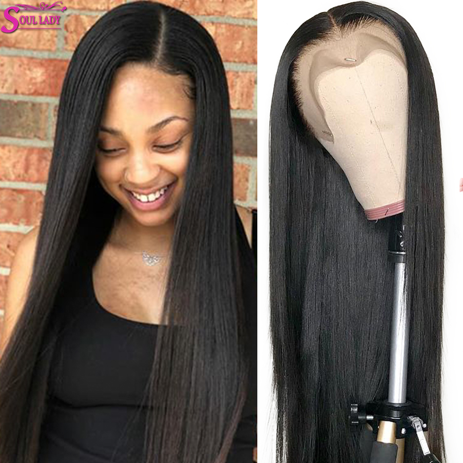 Soul Lady Transparet Human Lace Frontal Straight Wigs 150% Malaysian Hair Lace Front Wig Preplucked Bleached Knots Lace Wig