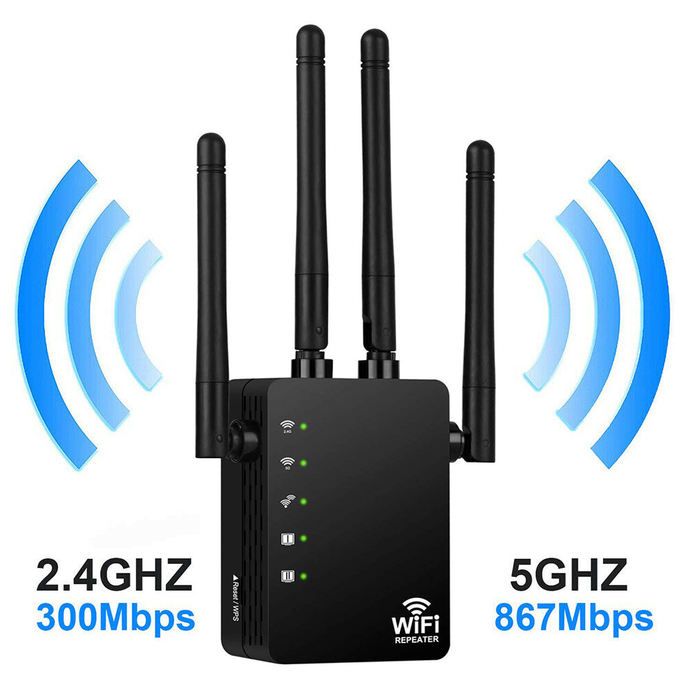 Wireless Wifi Repeater Router 1200Mbps Dual-Band 2.4/5G 4Antenna Wi-Fi Range Extender Wi-Fi Routers Home Network Home Supplies