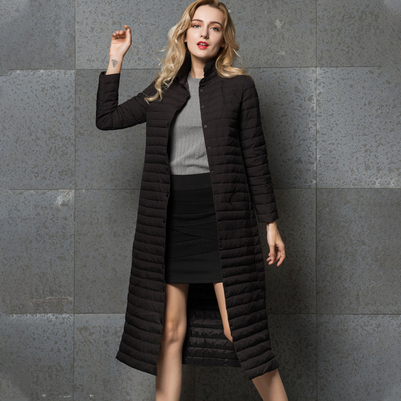 Image 3 - Удлиненное пальто, женский длинный серый жакет, серая верхняя  одежда, ультралегкое удлиненное пальто на осень зиму с воротником  стойкой, повседневное теплое пальто YD 13Пуховые пальто   -