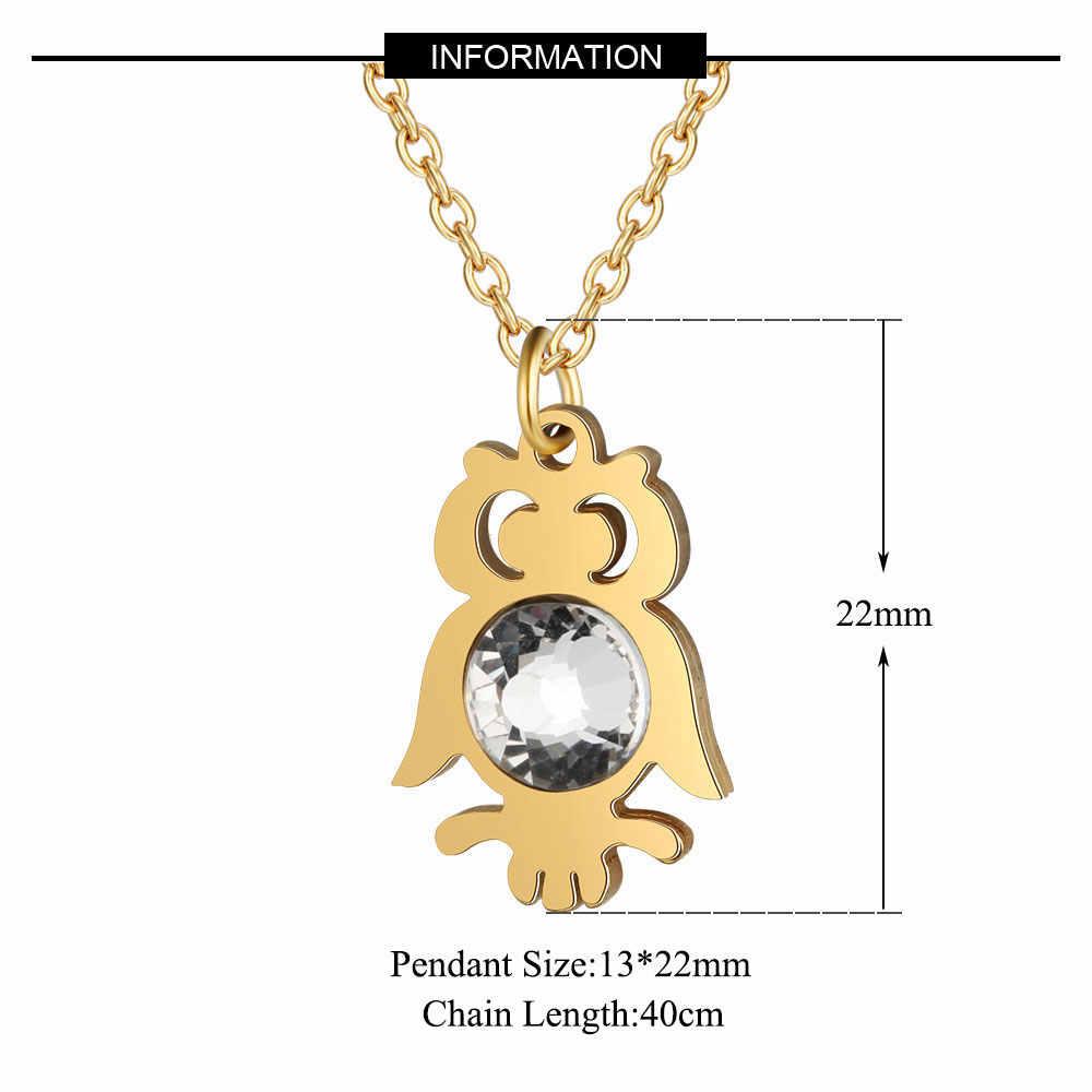 Super moda duże kryształowe kamienie 100% stal nierdzewna noc sowa naszyjnik charms hurtownia moda naszyjnik charms s wysoki połysk