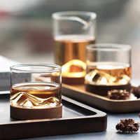 Vaso de whisky transparente, vaso de cerveza pequeño, copa de vino de estilo japonés, copa de vino de montaña con parte inferior de madera, Bar, vasos de Hotel
