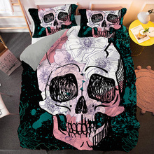 Bedding-Set Comforter-Covers Fabric Skull King Queen Skeleton Soft Gentle Funny