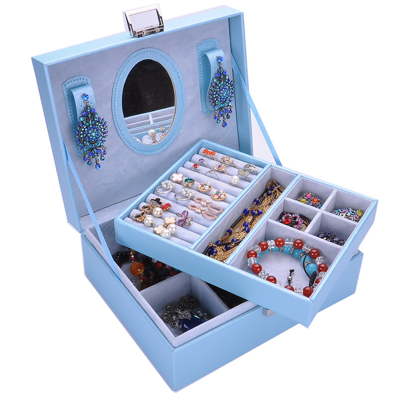 Multi Mina two layers jewelry casket cosmetic box extension ladder variety of multi-choice wholesale and retail