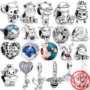 Real 925 Sterling Silver Turtle Rabbit Unicorn Bee Owl Dog Cat Animal Charms Fit Pandora Original 3MM Bracelet Silver Jewelry