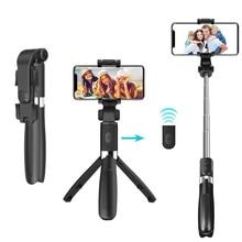Selfie sopa Tripod telefon Monopod için Selfie sopa Bluetooth deklanşör uzaktan kumandalı akıllı telefon standı mobil klip kablosuz