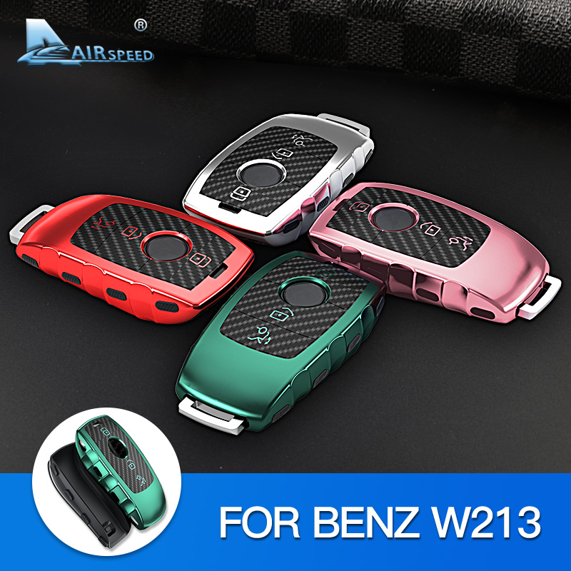 AIRSPEED for Mercedes Benz W213 E300 <font><b>E220D</b></font> E200 E63 Accessories TPU Carbon Fiber Car Remote Key Case Shell Key Protective Cover image