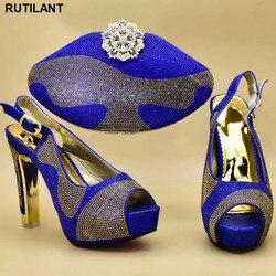 Italienische Schuhe mit Passenden Taschen für Hochzeit Italien High Heels Frauen Hochzeit Schuhe Verziert mit Strass Schuh und Geldbörse Set