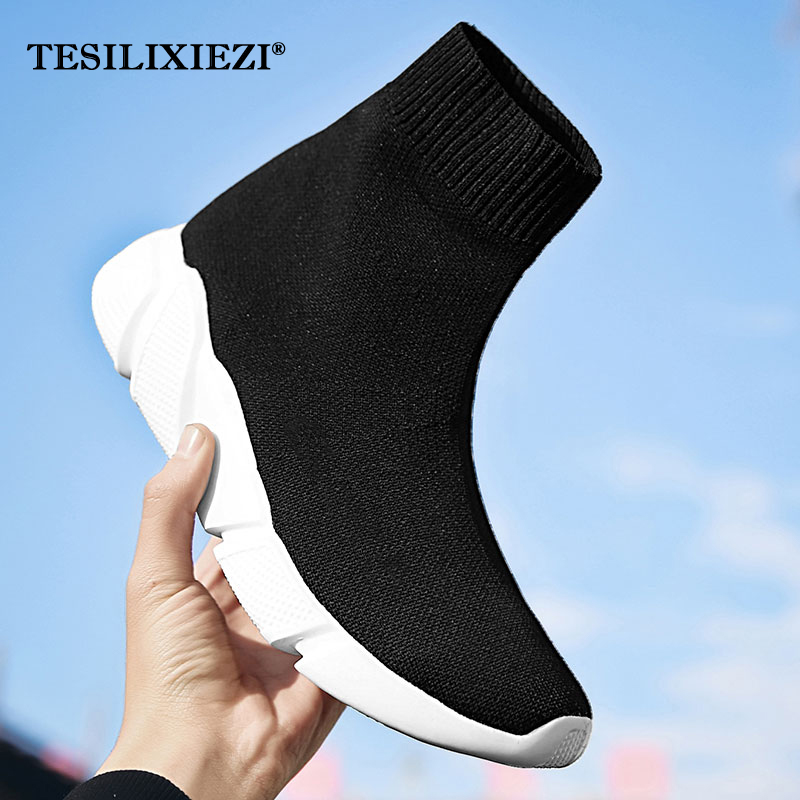 Women Casual Stretch Sock Shoes Fashion Bling Sneakers Woman Flats Elastic Shoes Outdoor Female Slip On Trainers Balenciaca