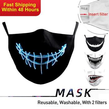 Zawaland Mask for Men Women Terror Print Protective PM2.5 Washable Fabric Mask Anti Pollution Dust Masks Washable With Fliters