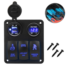 цена на New 3 Gang Marine Ignition Toggle Rocker Switch Panel with LED Voltmeter Dual USB Charger Socket Adapter For Car Boat Vehicles