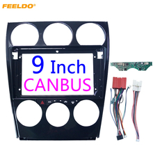 FEELDO Car Audio 2Din Fascia Telaio Adattatore Con Pannello AC e Cavo di Alimentazione Canbus Per Mazda 6 Grande Schermo DVD montaggio Dash Kit Trim
