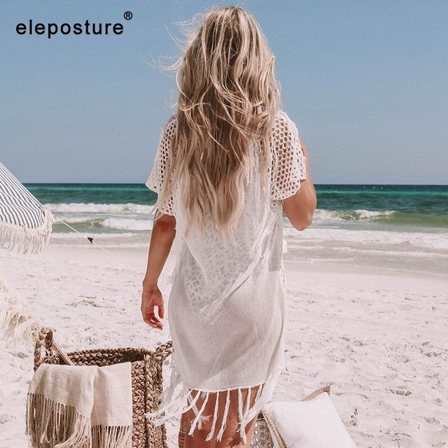 New Knitted Beach Cover Up Women Bikini Swimsuit Cover Up Hollow Out Beach Dress Tassel Tunics Bathing Suits Cover-Ups Beachwear 2