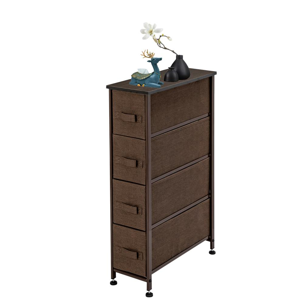 Narrow Dresser Vertical Storage Unit With 4 Fabric Drawers Metal Frame Slim Storage Towe 7.9 Width For Living Room Kitchen