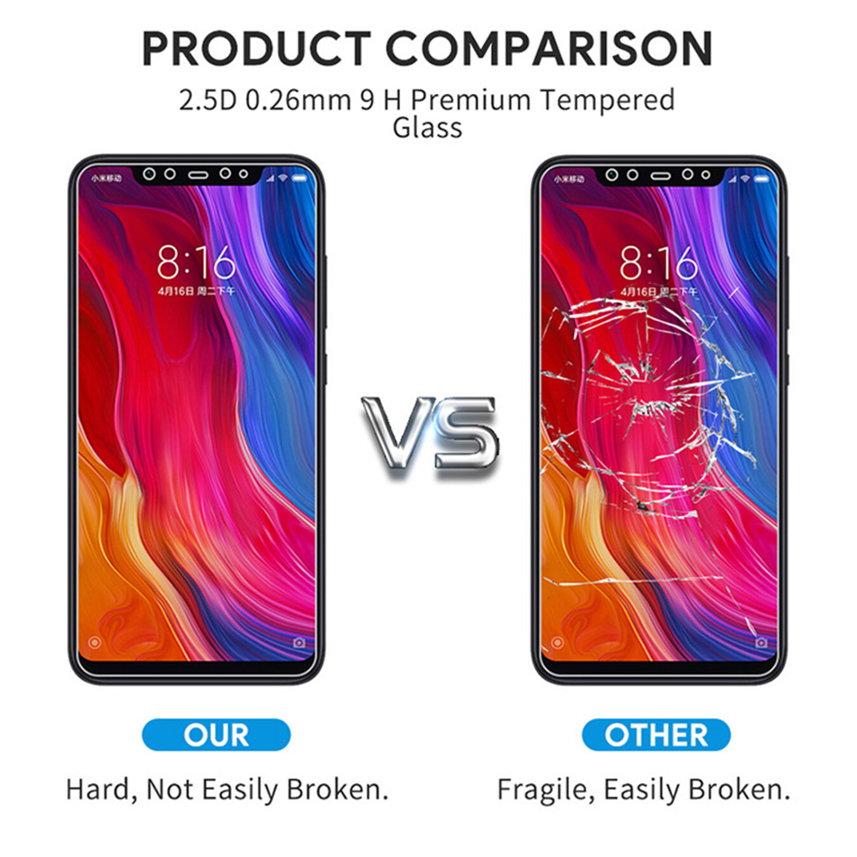Glass Film on For Xiaomi redmi note 5 6 7 8 pro 8t  Tempered Glass Screen Protectors (5)