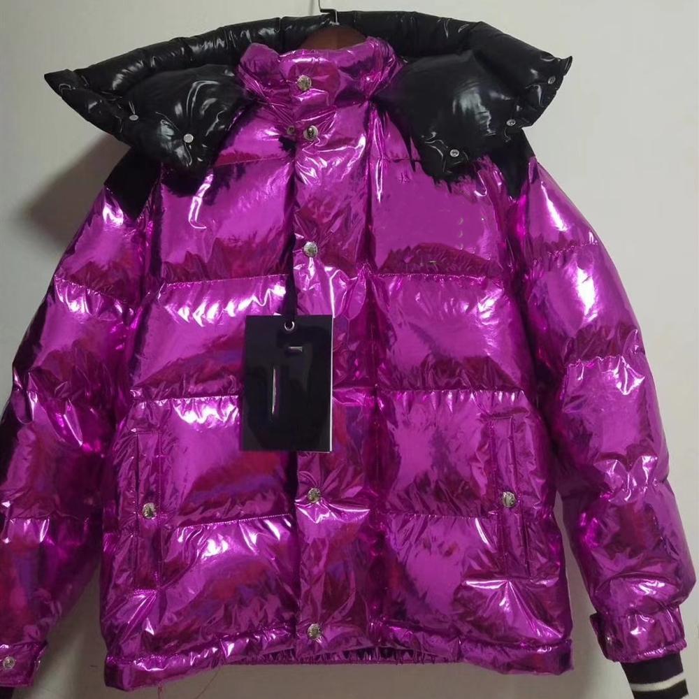 La dernière veste d'hiver femmes brillant violet marque française 1:1 production femme à capuche doudoune