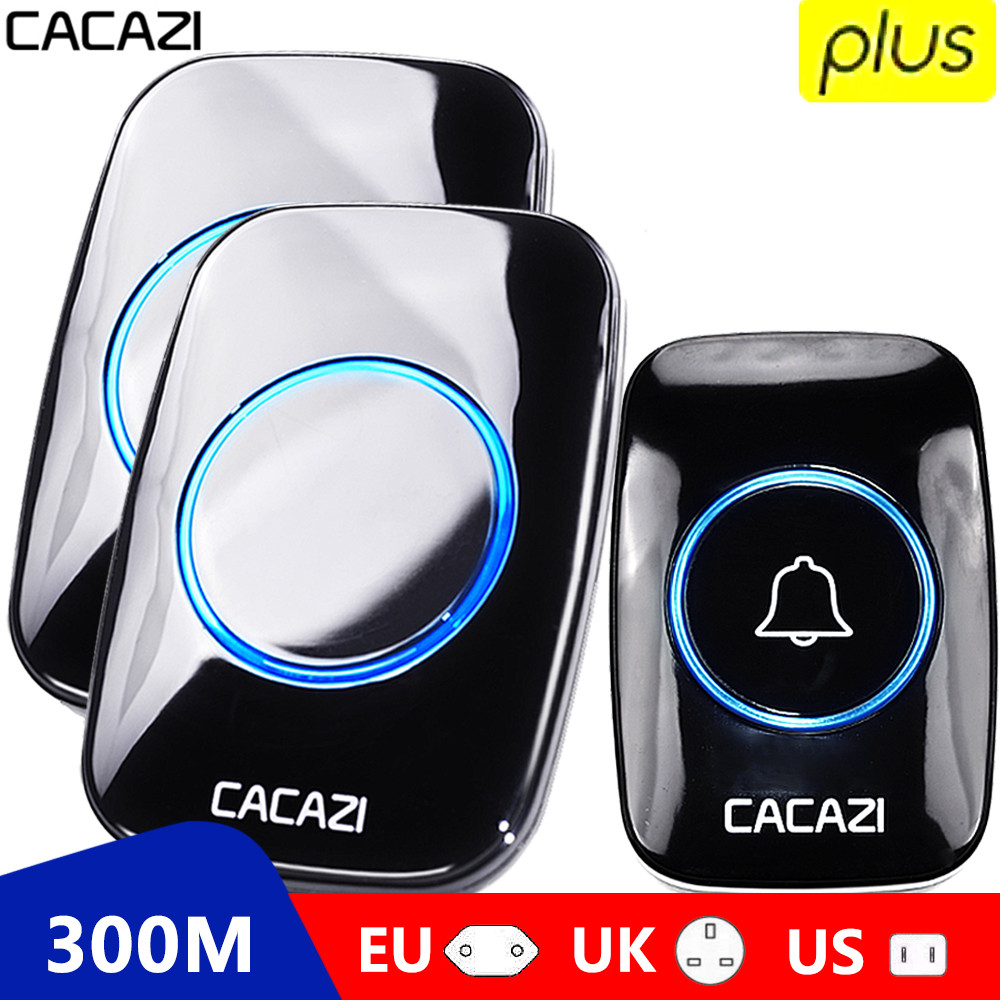 CACAZI 60 Chime 110DB Wireless Doorbell Waterproof 300M Remote EU AU UK US Plug smart Door Bell battery 1 button 1 2 3 receiver(China)