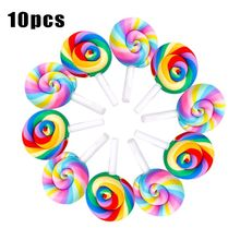 10PCS Mini Rainbow Lollipop Colorful Cream Sugar for Studio Photo Background Photography Props Accessories DIY Decorations