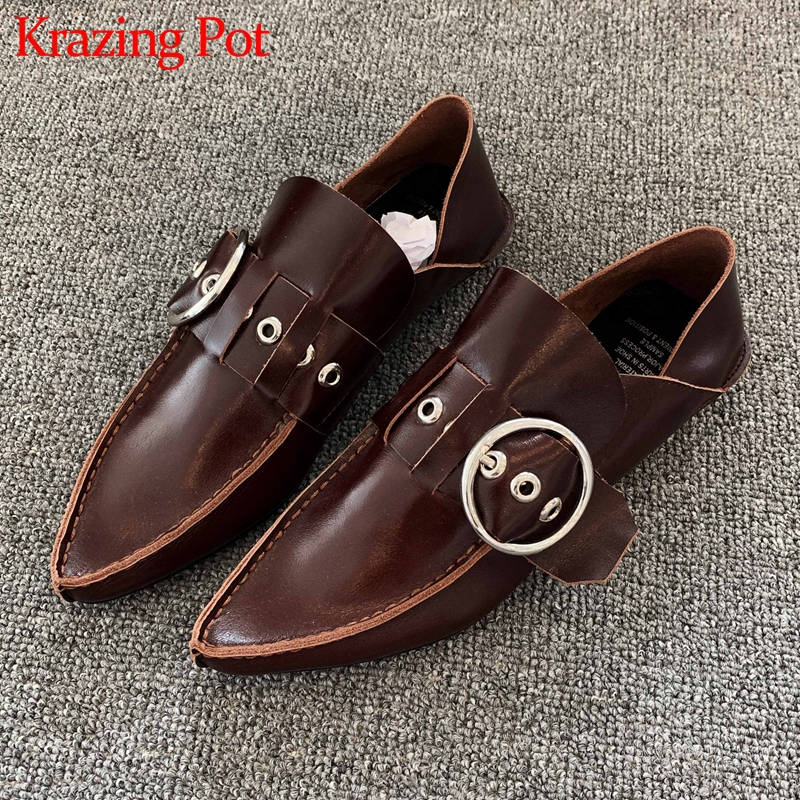 Krazing Pot Hot Internet Star Genuine Leather Fashion Buckle Straps Pointed Toe Low Heel Solid Women Streetwear Casual Shoes L11