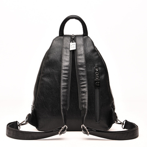 Image 4 - Fashion Casual Soft Leather Women Travel Backpack High Quality Durable Leather Backpack Zipper Straps Design Womens Backpack