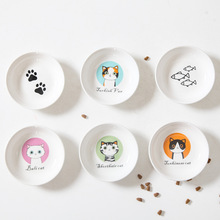 New Creative Cute Cat Small Saucer Shape Mini Plate Ceramics Cartoon Dish Snack Chinchilla Squirrel Hedgehog Bowl