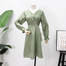 Mooirue Vintage Plaid Women Long Dress Autumn Sleeve V Neck Button With Sashes Casual Streetwear Harajuku Korean Vestidos