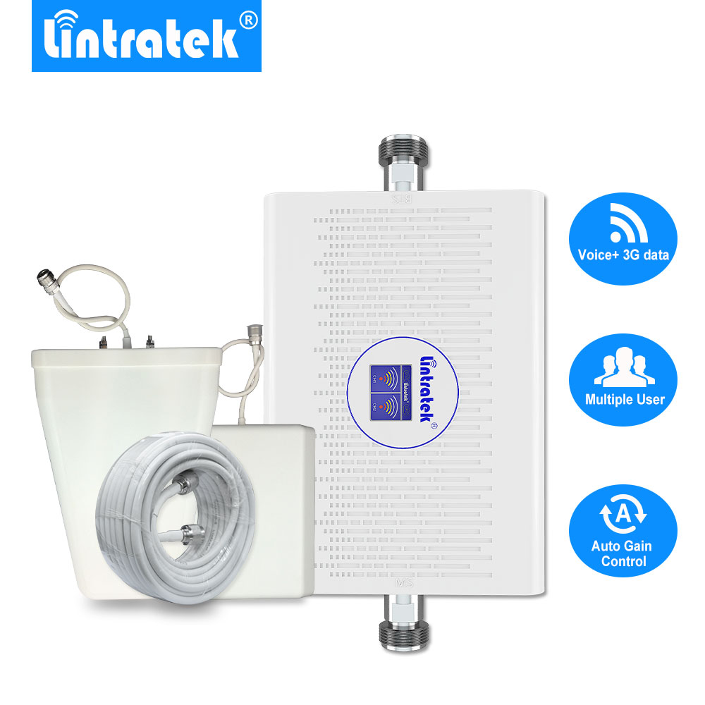 Lintratek 70dB GSM 3G 900mhz 2100mhz Cellular Signal Booster AGC/ALC LCD 23dBm Dual Band GSM UMTS 3G Mobile Repeater Full Kit .