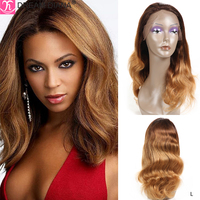 DreamDiana Ombre Full Lace Wigs Human Hair 150 Density Long Ombre Brazilian Body Wave Wig Hand Made Blond Glueless Full Lace Wig