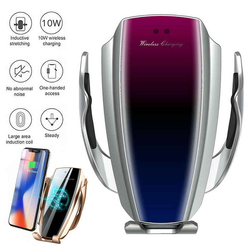 Car Wireless Charger For iPhone XS Max XR X 8 Samsung S9 S8 S10 Automatic Infrared Sensor Qi 10W Fast Charging Car Phone Holder
