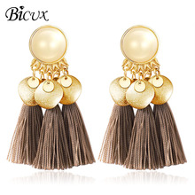 BICUX 2019 New Bohemian Tassel Earrings Ethnic Drop Vintage Resin Handmade Brincos Fringe for Women Jewelry