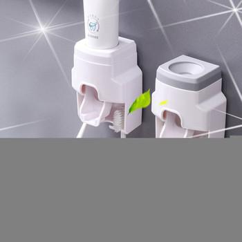 Automatyczna pasta do zębów dozownik do montażu na ścianie uchwyt na szczoteczki do zębów Lazy pasta do zębów wyciskacz do toalety szczoteczka do zębów w łazience uchwyt na szczoteczki do zębów s tanie i dobre opinie CN (pochodzenie)