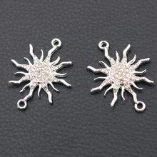 6 pçs artesanal strass grande sol conectores pulseira de metal acessórios diy encantos para mulher jóias artesanato fazendo 38*28mm a680