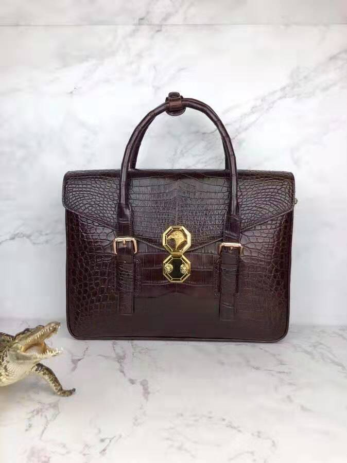 Business Briefcase Laptop-Bag Hardware Skin-Belly-Leather Crocodile Luxury Genuine Real