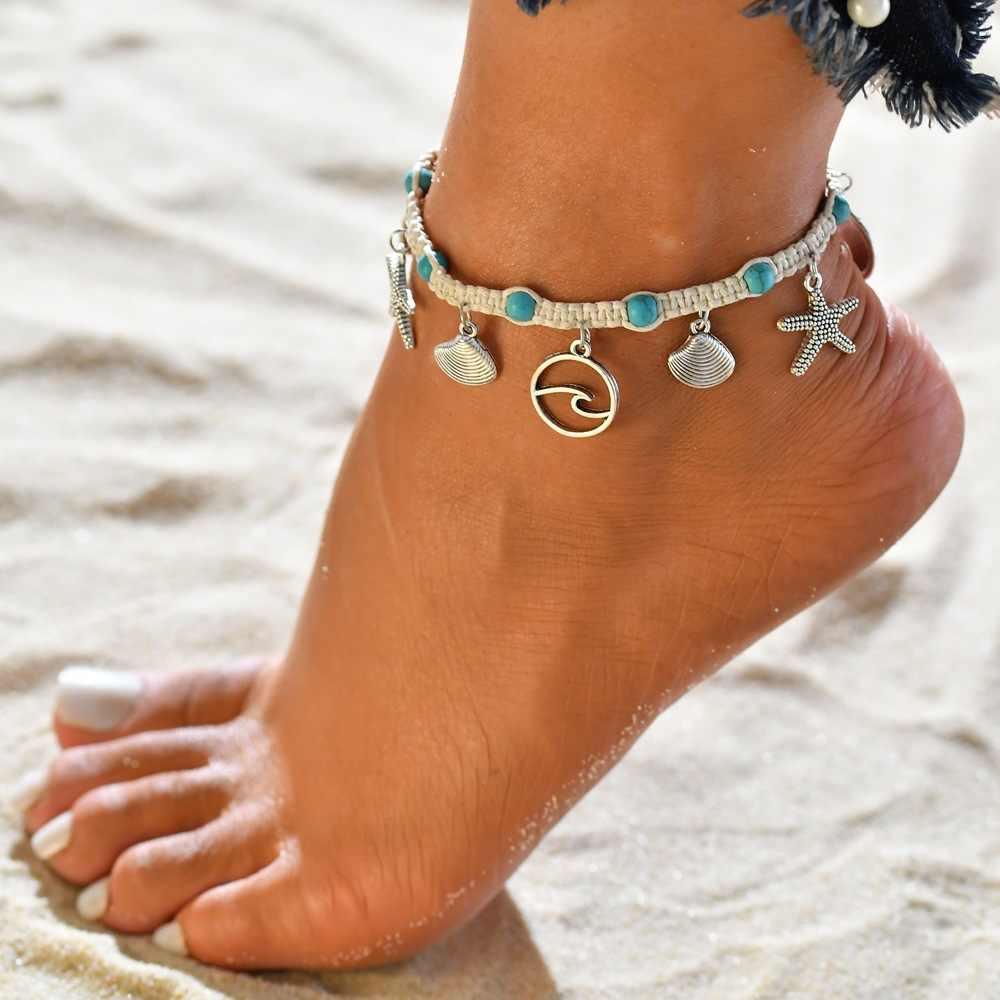 Черепаший панцирь подвеска Морская звезда ножные браслеты женские каменные бусины из ракушек ножной браслет в богемном стиле браслеты на ногу пляж Ювелирное Украшение с морскими мотивами Прямая доставка