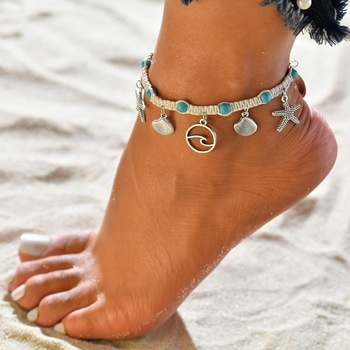 Turtle Shell Starfish Pendant Anklets Women Stone Beads Shell Anklet Bohemian Bracelets On Leg Beach Ocean Jewelry Drop Shipping 5